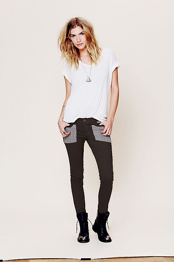 Free People - Embroidered Girlfriend Jeans (Grey) Women's Jeans