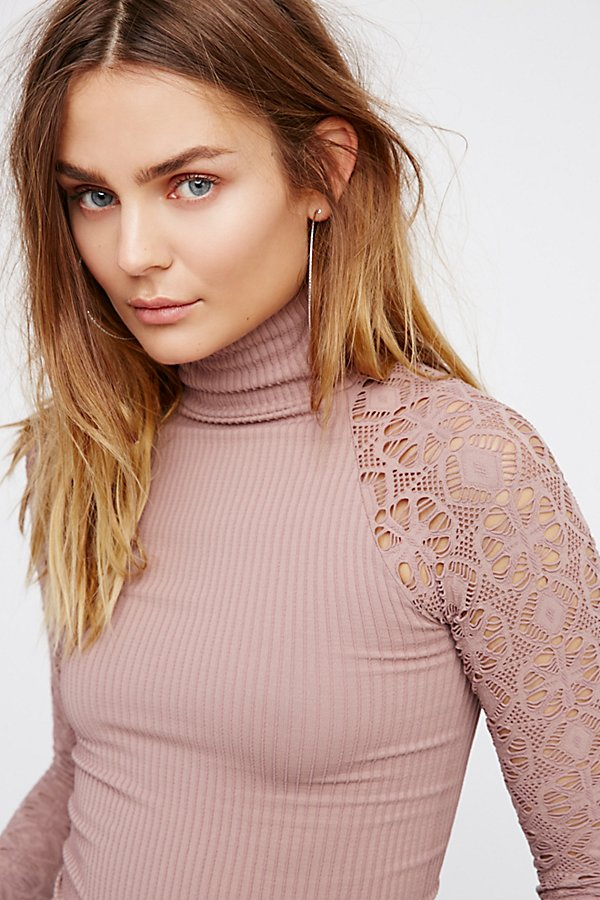 Slide View 3: Rib and Lace Turtleneck