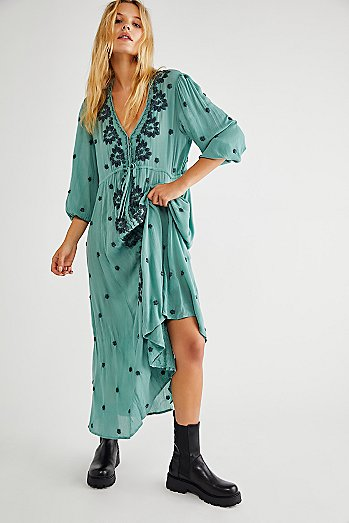 Embroidered Fable Midi Dress