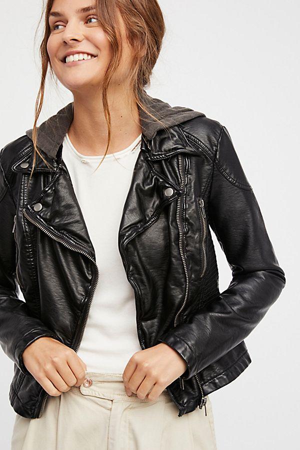 Slide View 1: Vegan Leather Hooded Jacket
