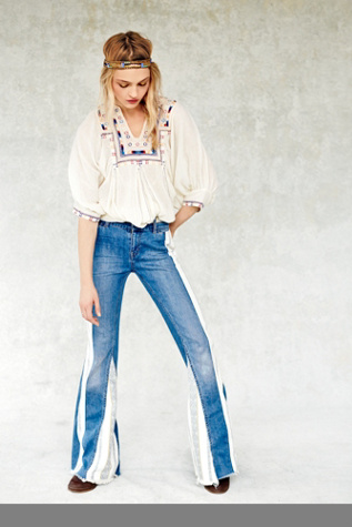 Free People Womens Danica Mid Rise Flare