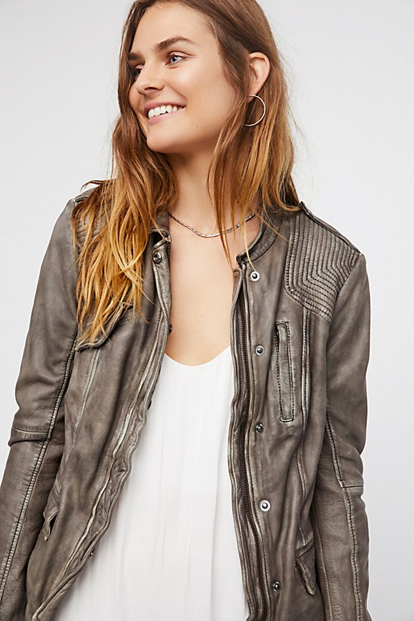 Slide View 2: Rumpled Leather Blazer