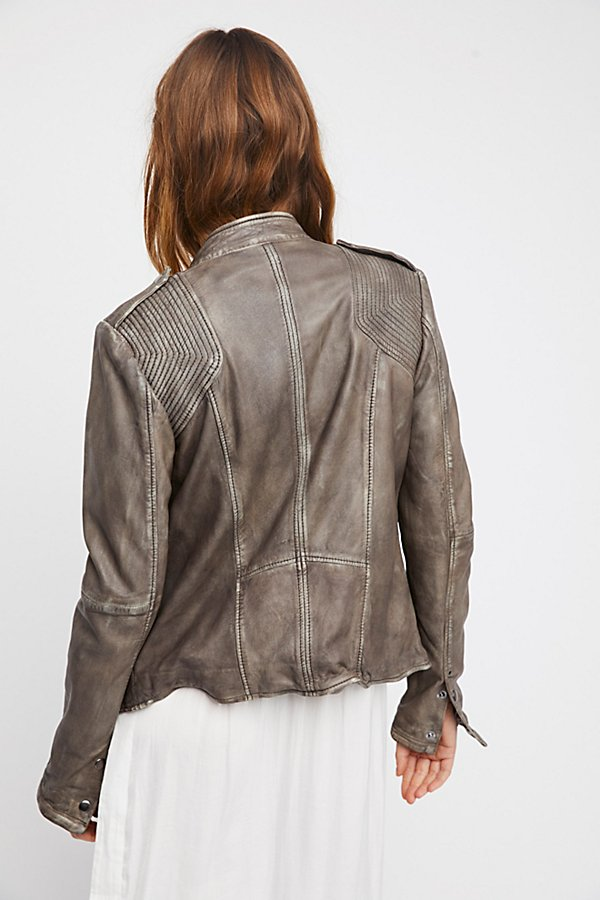 Slide View 3: Rumpled Leather Blazer