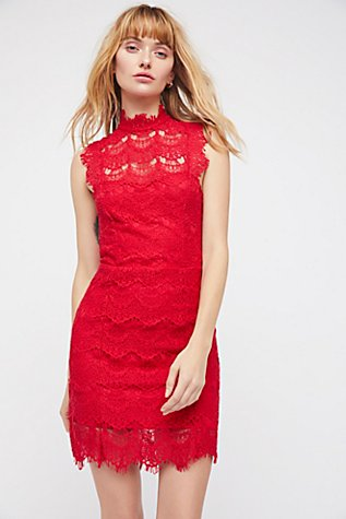 Daydream Lace Bodycon Dress - Coral Free People