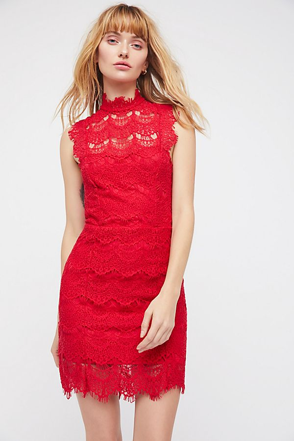 Daydream Lace Bodycon Dress - Coral Free People tsxV7orxS
