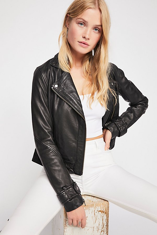 Slide View 1: Washed Leather Moto Jacket