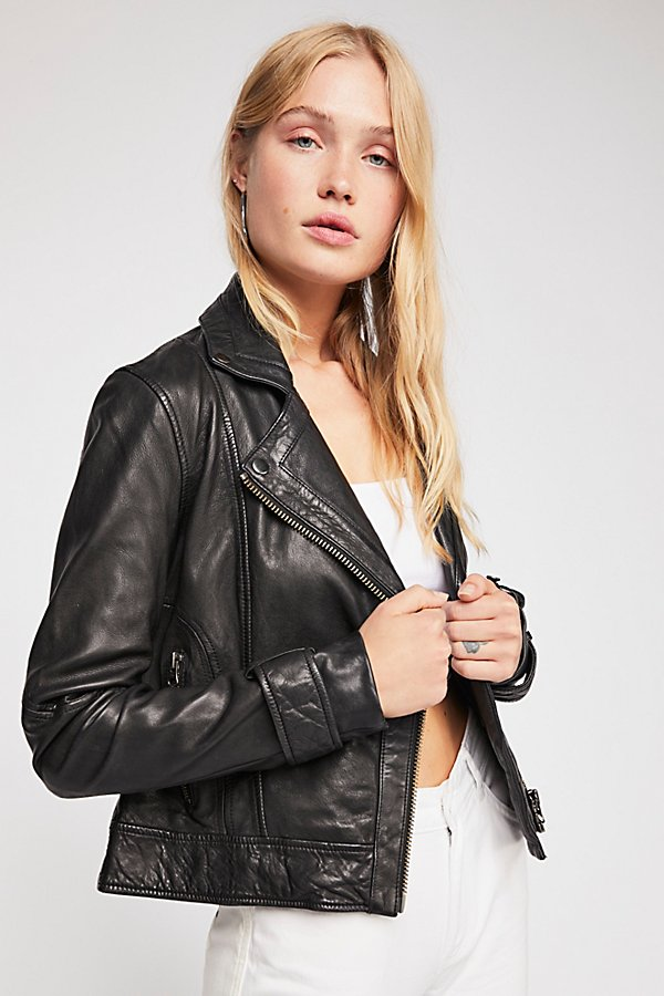 Slide View 2: Washed Leather Moto Jacket
