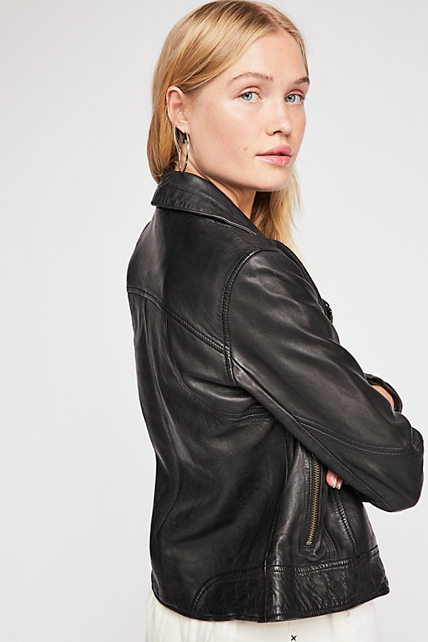 Slide View 3: Washed Leather Moto Jacket