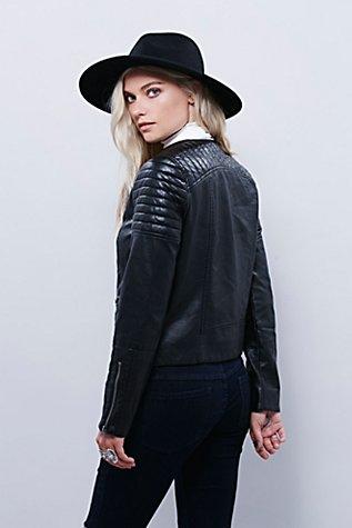 Vegan Leather Collarless Jacket   Free People