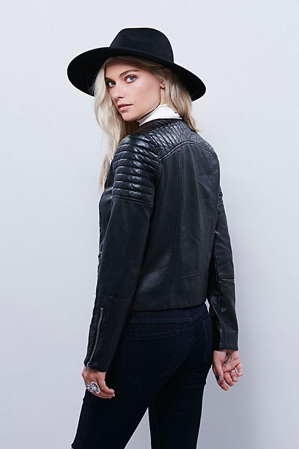 Vegan Leather Collarless Jacket | Free People