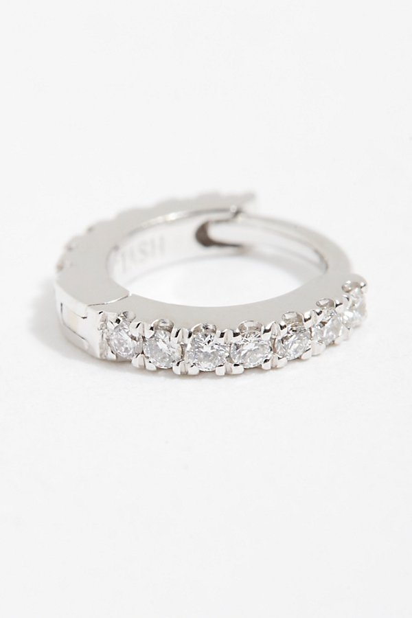 Slide View 1: 18K Diamond Helix Hoop Earring