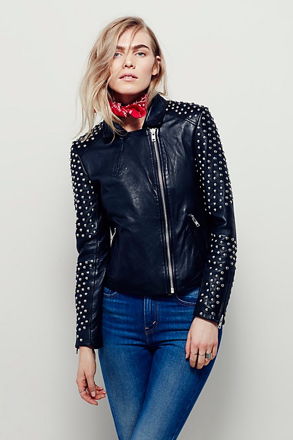 Slide View 5: Doma Studded Biker Jacket