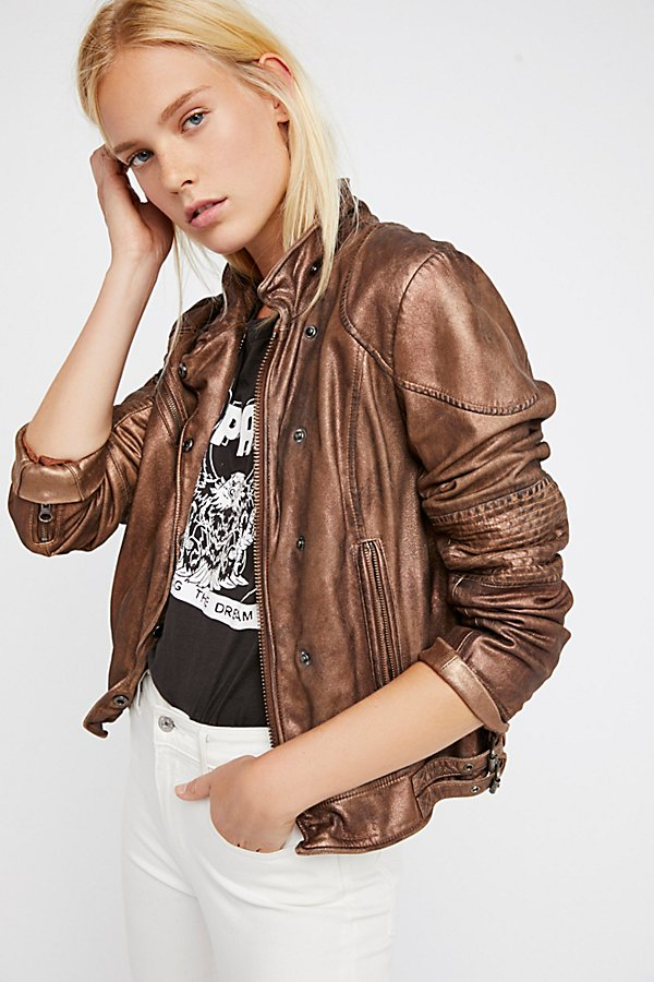 Slide View 2: Fitted and Rugged Leather Jacket
