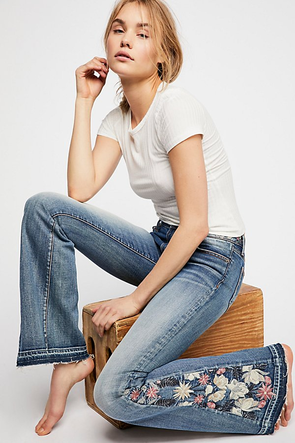 Slide View 1: Driftwood Farrah Embroidered Flare Jeans