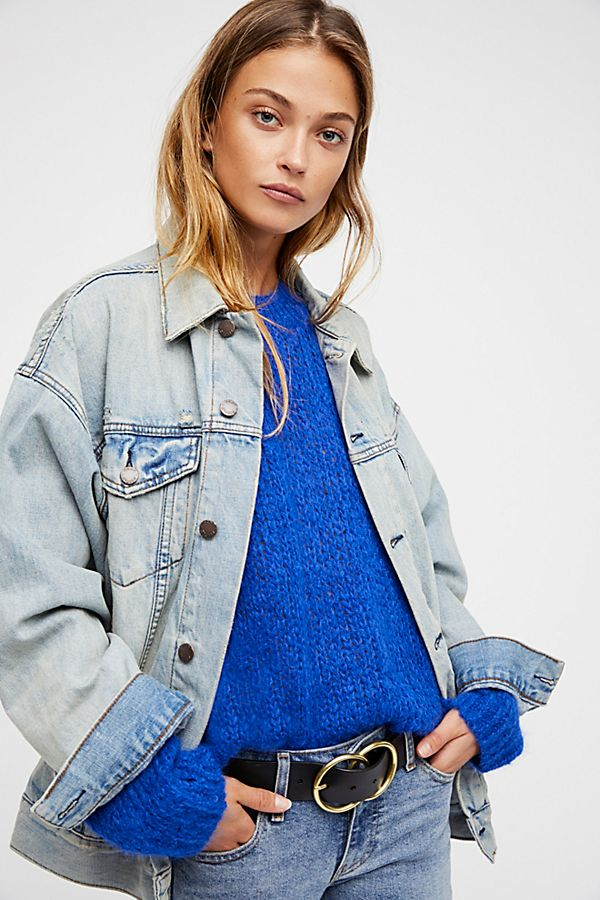 dfe7686c4162 Free People White Denim Trucker Jacket In a cute and cozy
