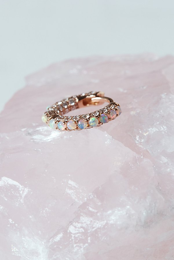 "Slide View 1: 1/4"" Opal x Diamond 5 Row Pave Eternity Hoop"
