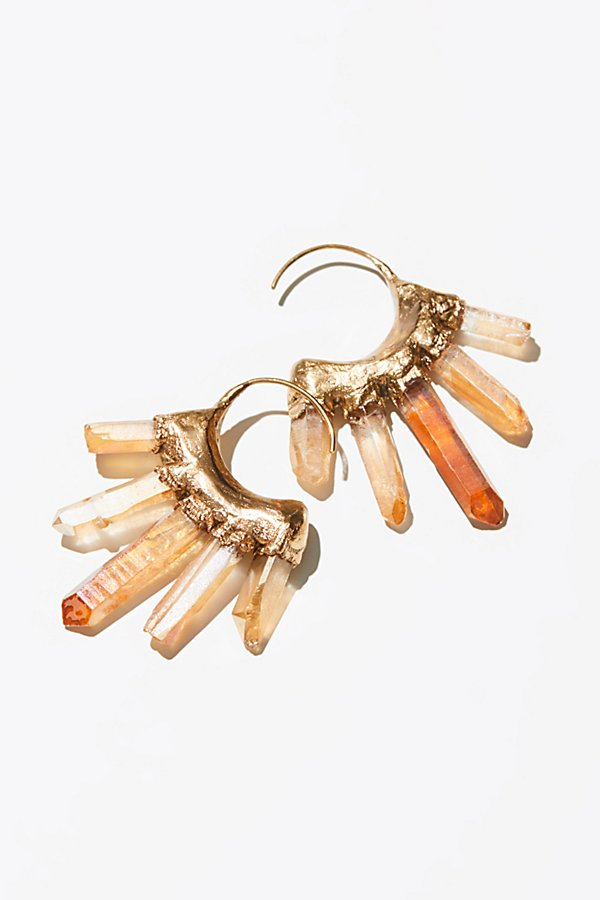 Slide View 1: Icicle Raw Quartz Hoop Earrings