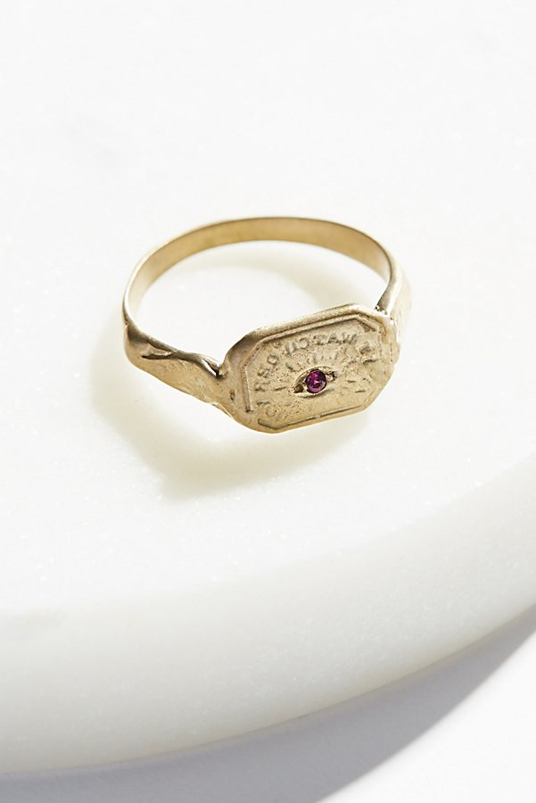 Slide View 1: Engraved Wax Seal Stone Ring