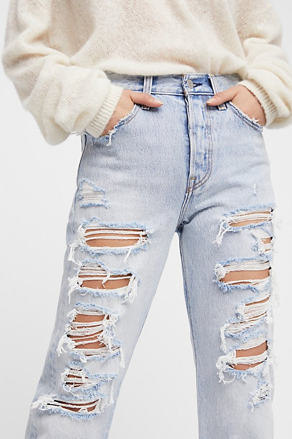 Slide View 3: Wedgie Straight Destroyed Jeans