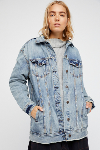 Slide View 4: Long Denim Jacket
