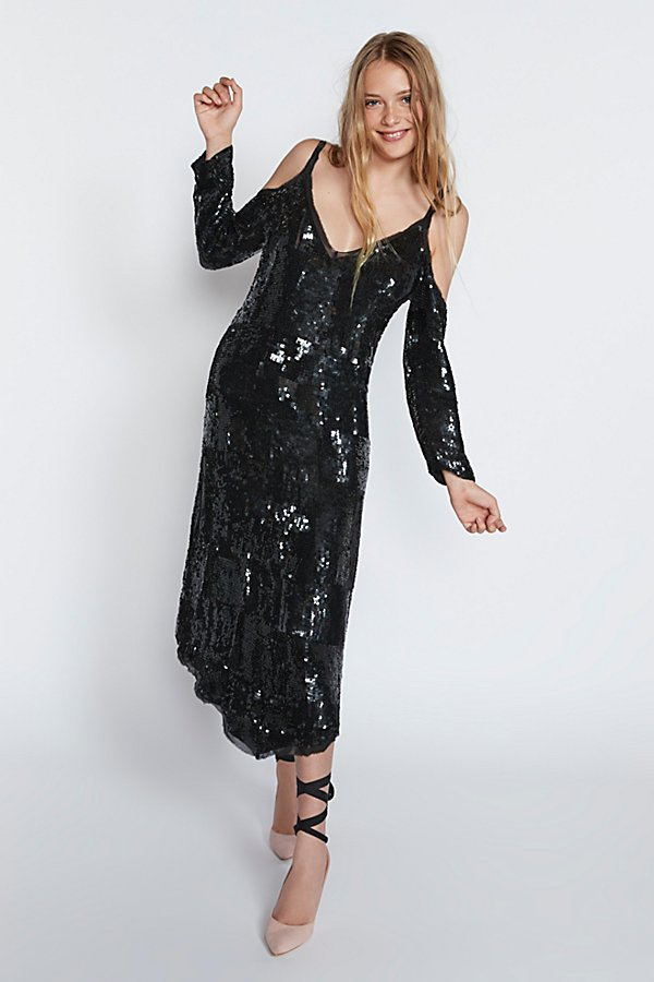 Slide View 1: Sequin Cold Shoulder Midi Dress