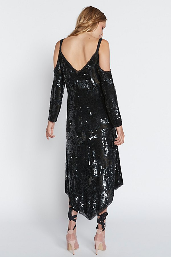 Slide View 2: Sequin Cold Shoulder Midi Dress
