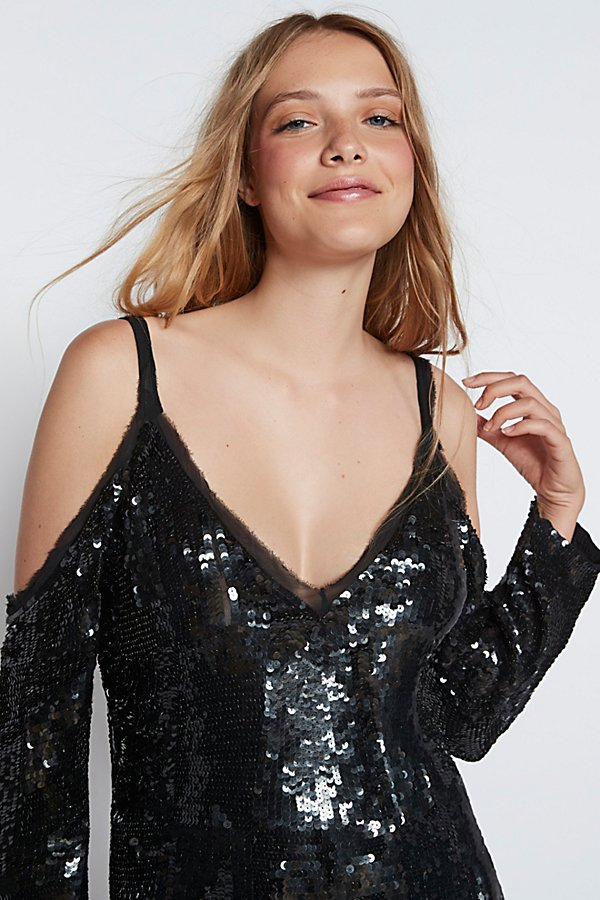 Slide View 3: Sequin Cold Shoulder Midi Dress