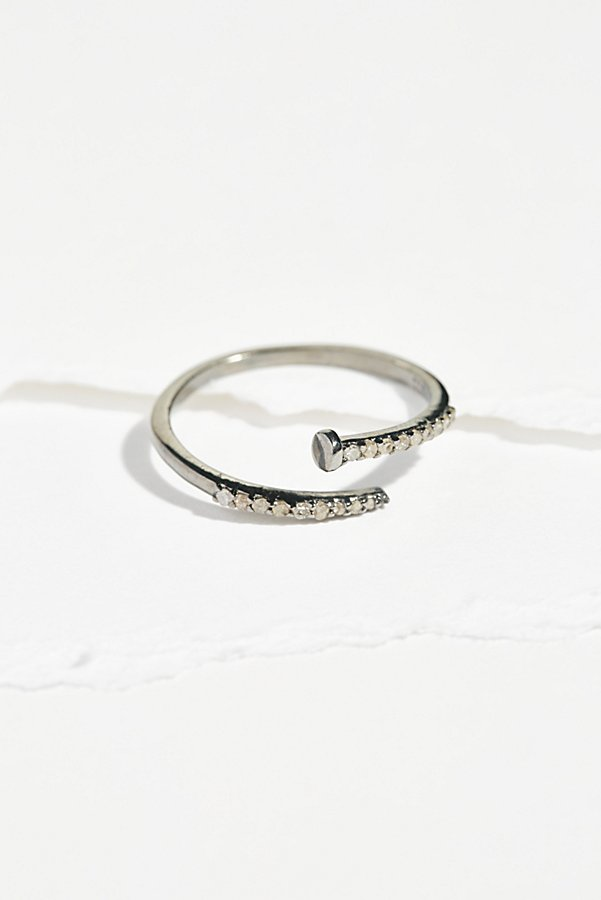 Slide View 1: Pave Diamond Nail Wrap Ring