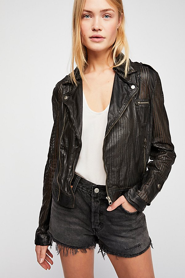 Slide View 3: Perforated Leather Moto Jacket