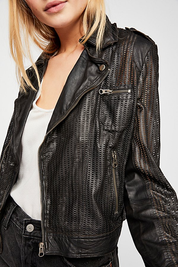 Slide View 1: Perforated Leather Moto Jacket