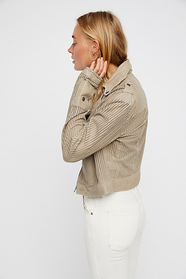 Slide View 2: Perforated Leather Moto Jacket