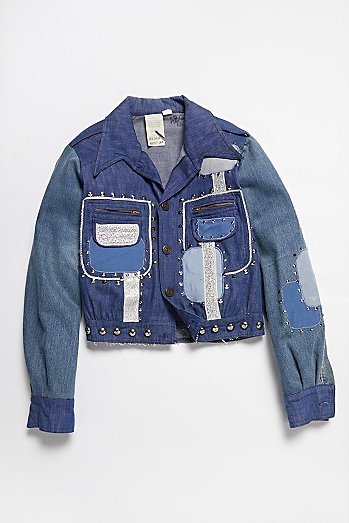 Vintage 1970s Patched and Studded Denim Jacket