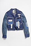 Thumbnail View 1: Vintage 1970s Patched and Studded Denim Jacket