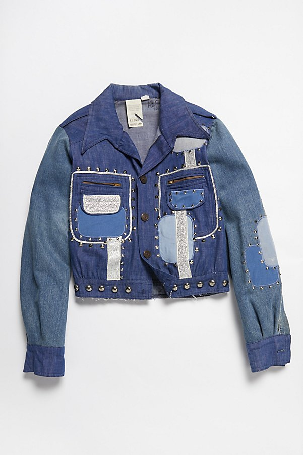 Slide View 1: Vintage 1970s Patched and Studded Denim Jacket