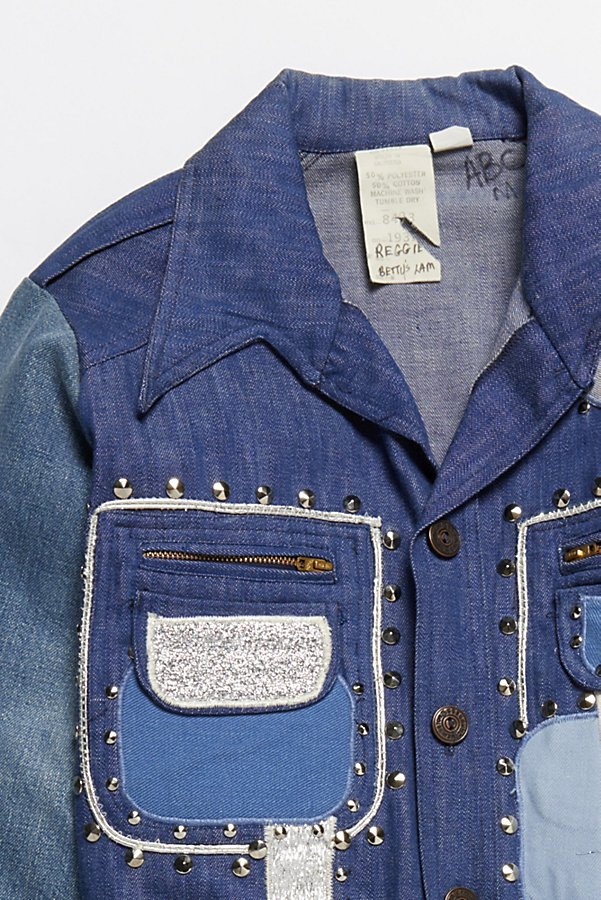 Slide View 2: Vintage 1970s Patched and Studded Denim Jacket