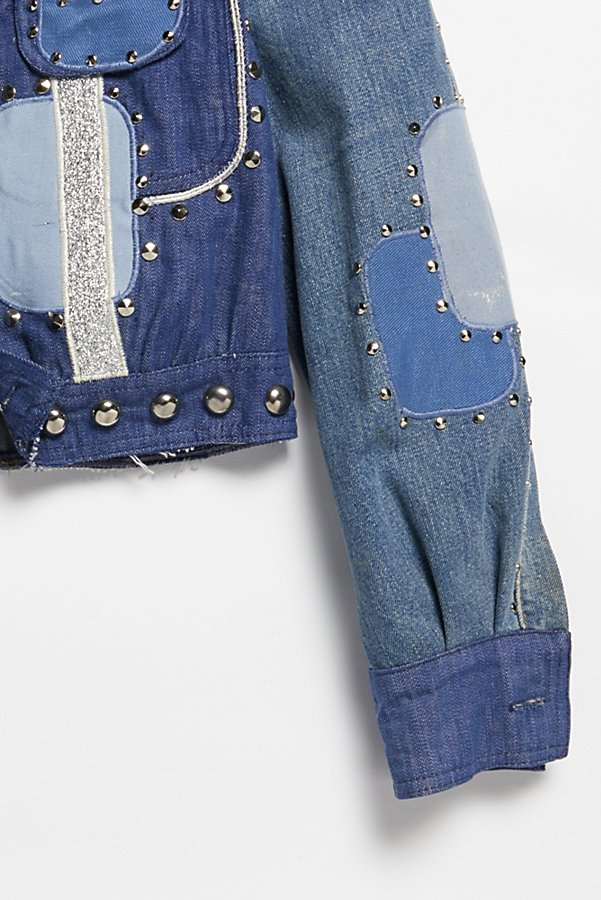 Slide View 3: Vintage 1970s Patched and Studded Denim Jacket