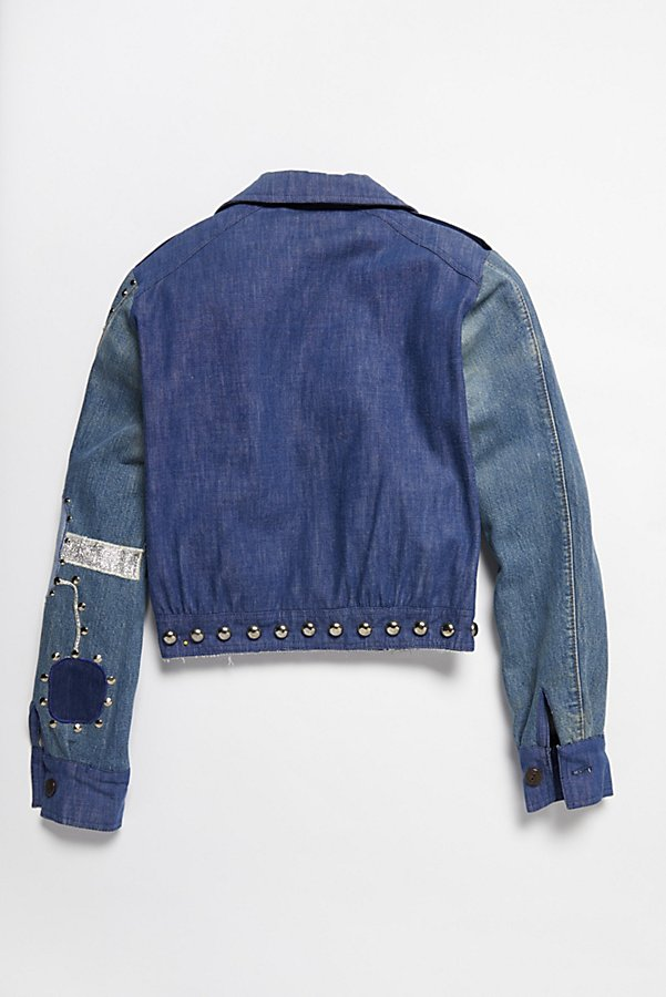 Slide View 4: Vintage 1970s Patched and Studded Denim Jacket