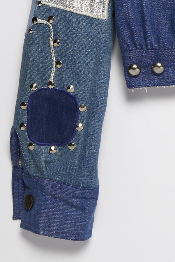 Slide View 5: Vintage 1970s Patched and Studded Denim Jacket