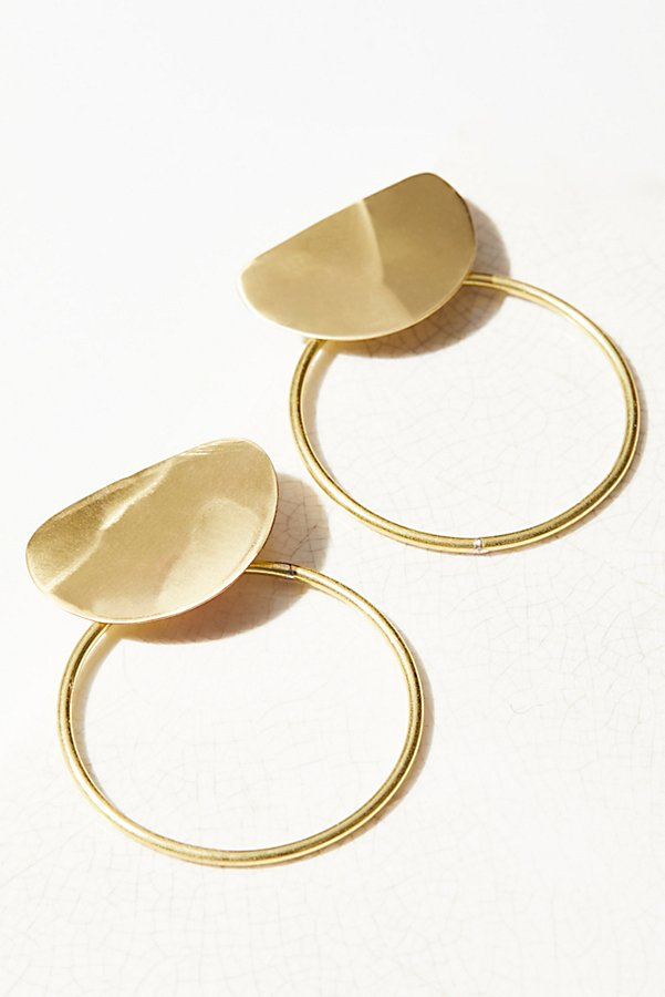 Slide View 1: Brass Knocker Hoop Earrings