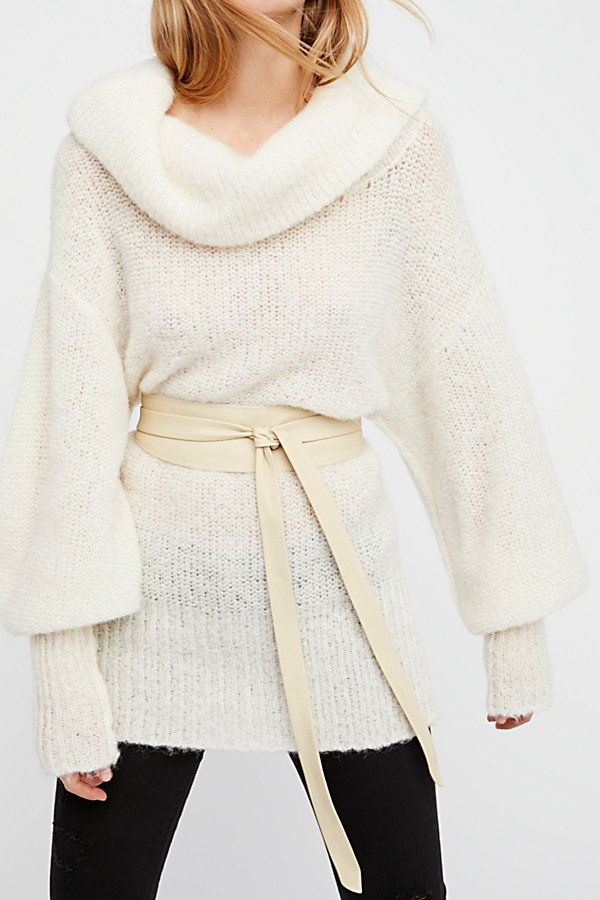 Ada Collection Leather Obi Belt In Cream