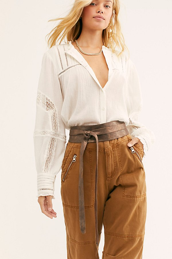 Ada Collection Leather Obi Belt In Truffle