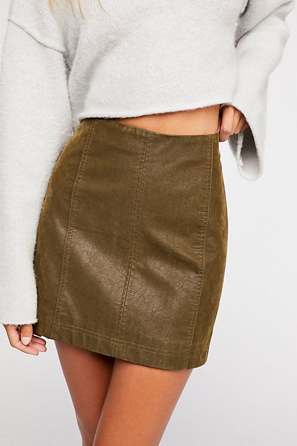 Slide View 3: Modern Femme Vegan Suede Mini Skirt