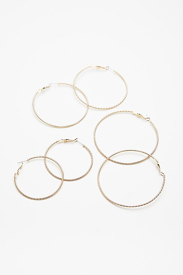 Slide View 3: Triple Hoop Earring Set