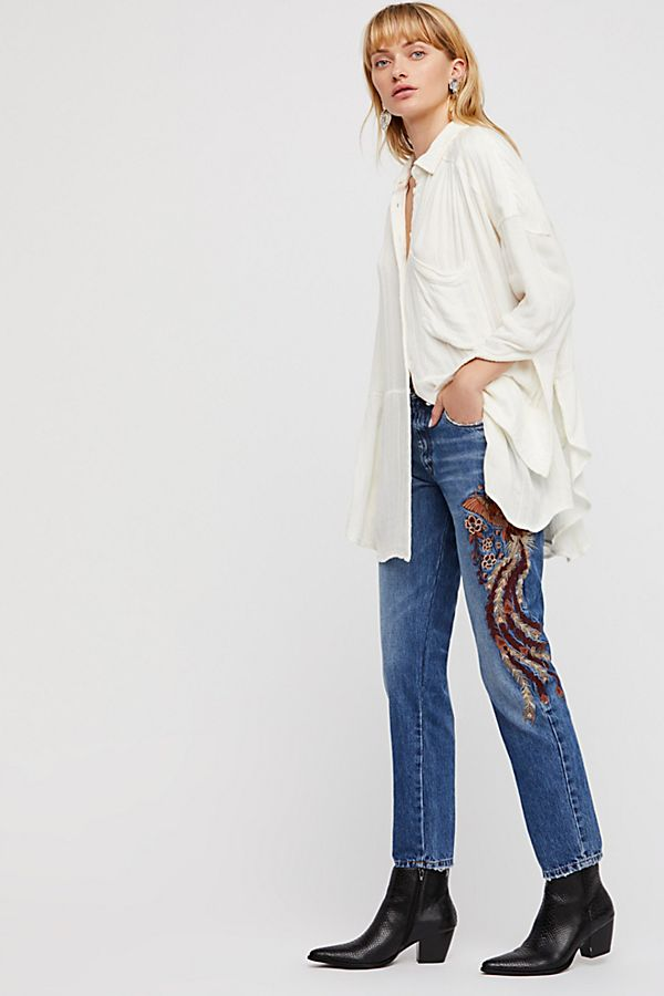 Free People High-Waist Embroidered Flared Jeans, Isabelle Wash