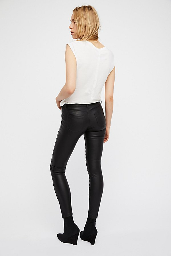 Slide View 4: Vegan Leather Lattice Skinny Pants
