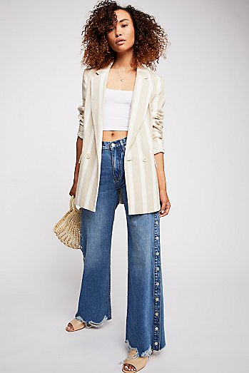 Zee Gee Why Sweeper Snap Wide Leg Jeans
