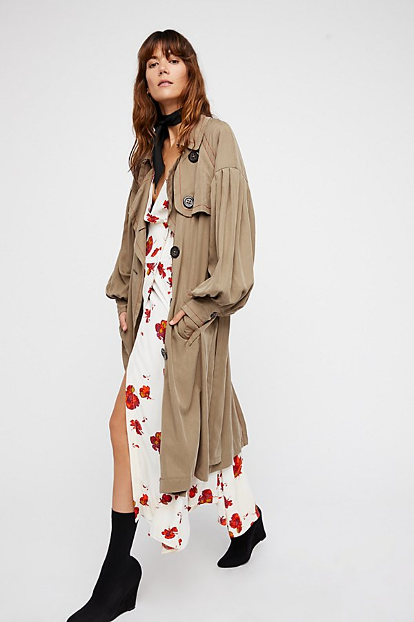 Slide View 2: Balloon Sleeve Trench Coat