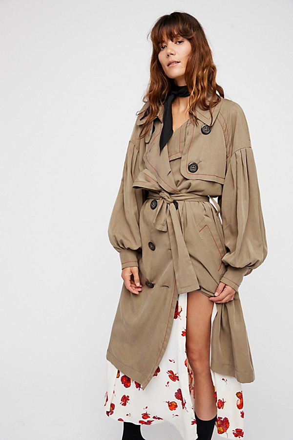Slide View 3: Balloon Sleeve Trench Coat