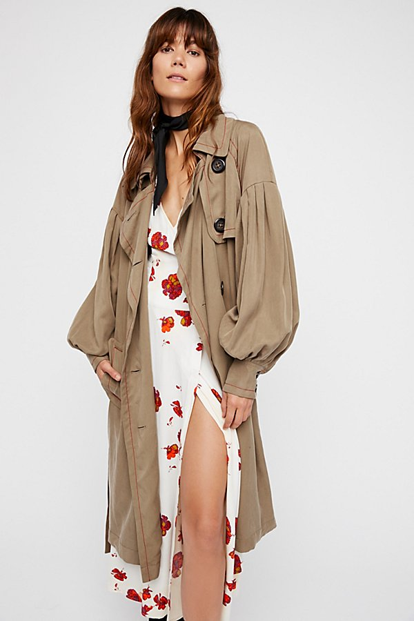 Slide View 4: Balloon Sleeve Trench Coat