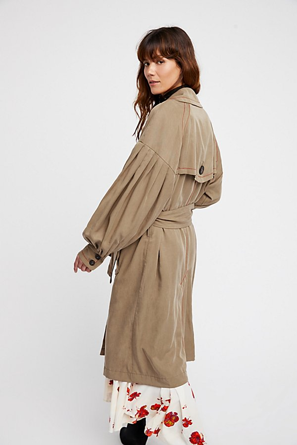 Slide View 5: Balloon Sleeve Trench Coat